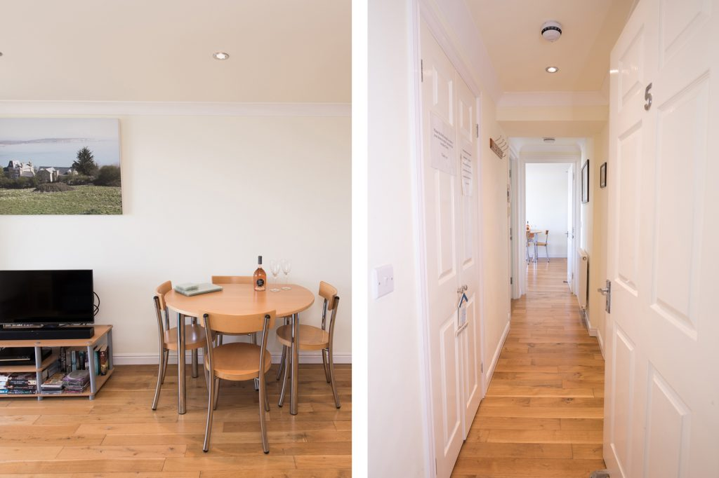 Split photo of the hallway and entrance into Balcony View (right) and the open plan dining & living area