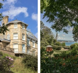 Split photo of the exterior of Balcony View (left) and the view of the garden with excellent views of Sandown Bay. Summer house positioned central left of the shot (right)