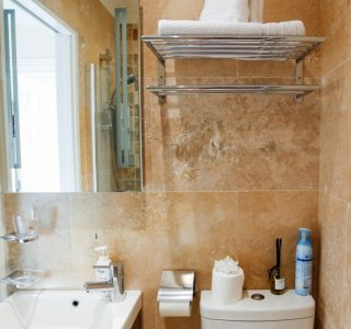 Bathroom, toilet, wash basin and large mirror
