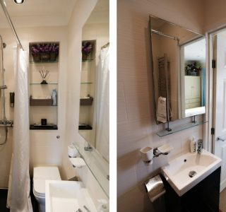 Split photo. Wet room with overhead Shower and control fixed to the wall, Shower curtain draped through the middle of the room (left) And photo of the wash basin with mirror above. space for personal items (right)