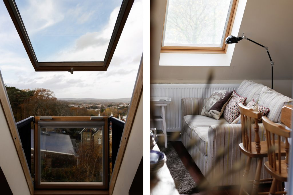 Split photo. View of the skylight windows with Views across Shanklin (Left) the sofa in the living area, with over head reading lamp (Right)
