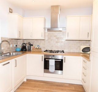 Wight Riviera Kitchen area with oven, gas hob, extractor overhead, sink with mixer tap, stainless steel drainage board, kettle, utensils, microwave, dishwasher and fridge/freezer