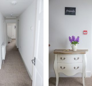 Split photo, Corridor which runs through the accomodation (Left) Front door with chest of drawers. (Right)