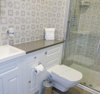 Ensuite bathroom to Bedroom 1. Walk-in shower, wash basin and WC