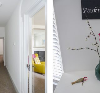 Paskins hallway (left) Paskins wall sign (right)